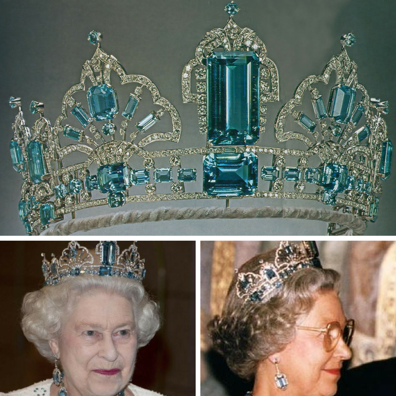 Tiara de Água marinhas Rainha Elizabeth II