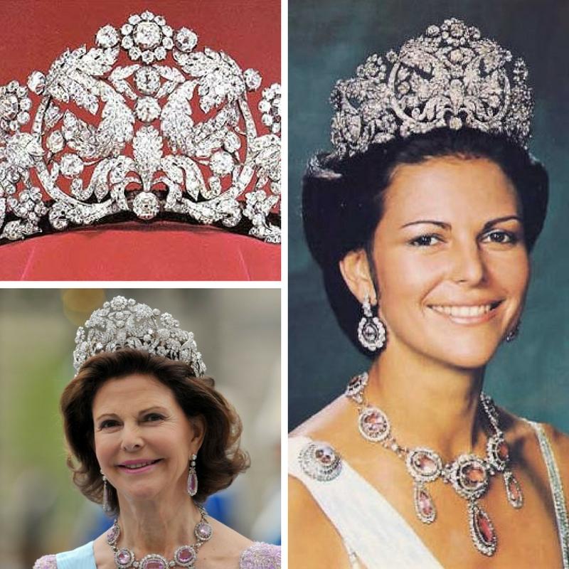 Rainha Silvia da Suécia com a tiara Bragança