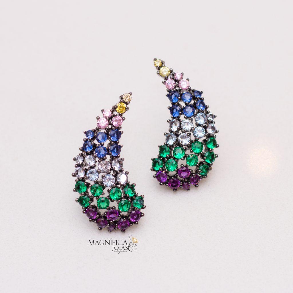 Brinco ear cuff colorido com zirconia cristal azul verde roxa magnifica semijoia