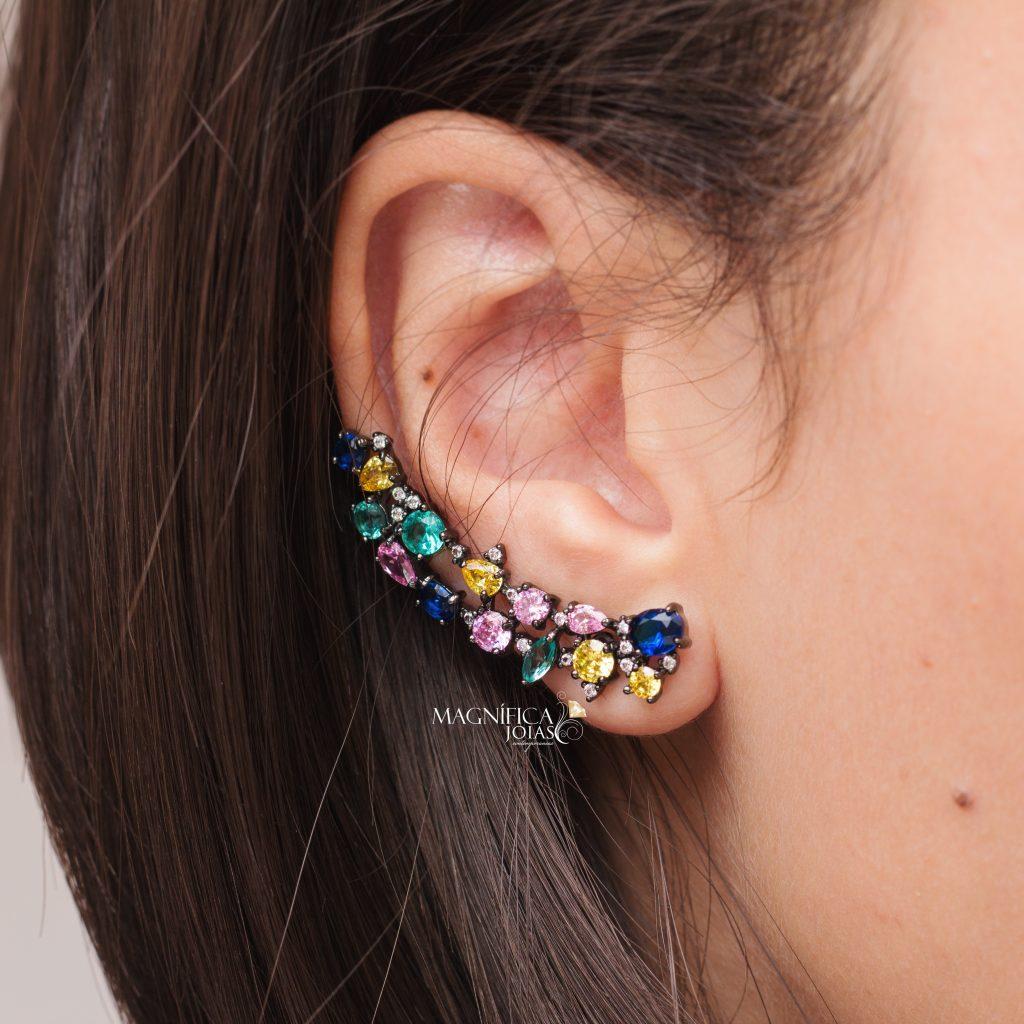 Brinco ear cuff com pedra colorida colorido semijoia magnifica