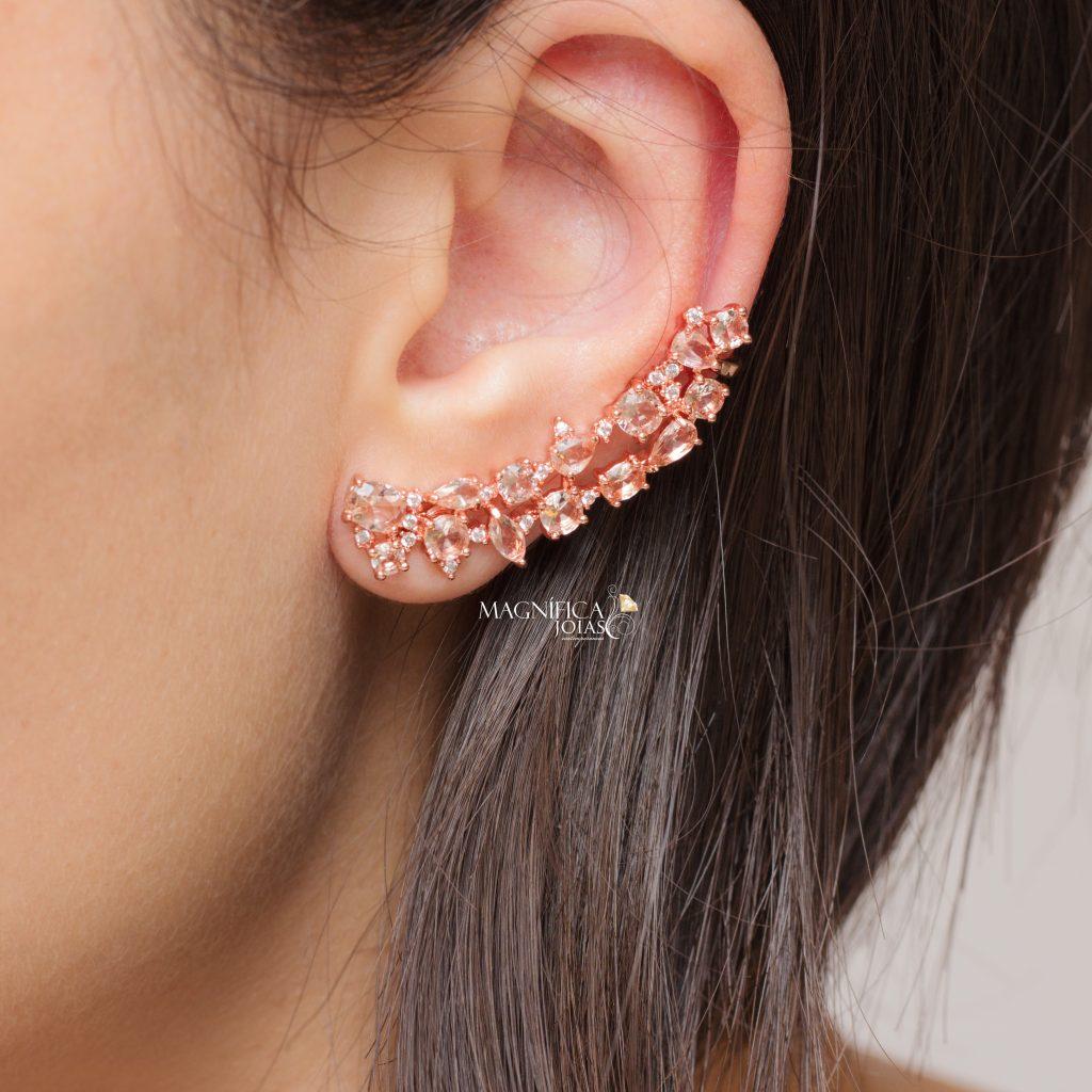 Brinco ear cuff ouro rose com cristal topazio e zirconia semijoia