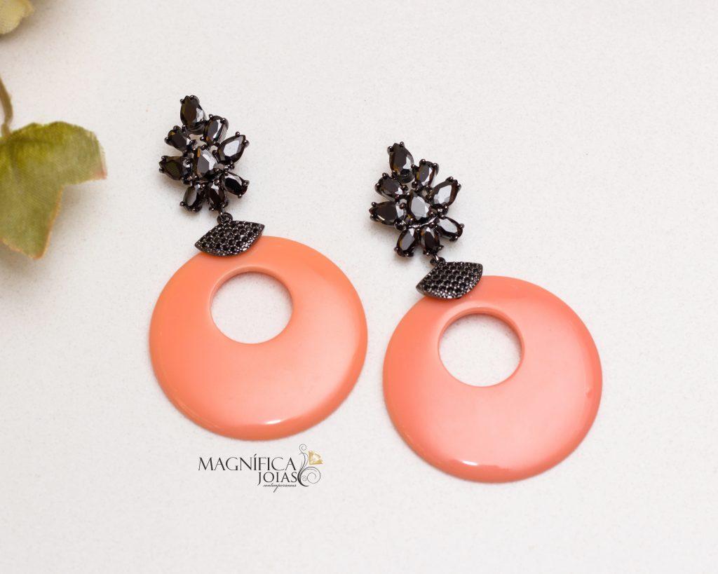 brinco rodio negro neon laranja semijoia
