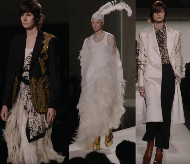 Combinação do branco com as franjas e plumas com dourado, desfile Dries Van Noten