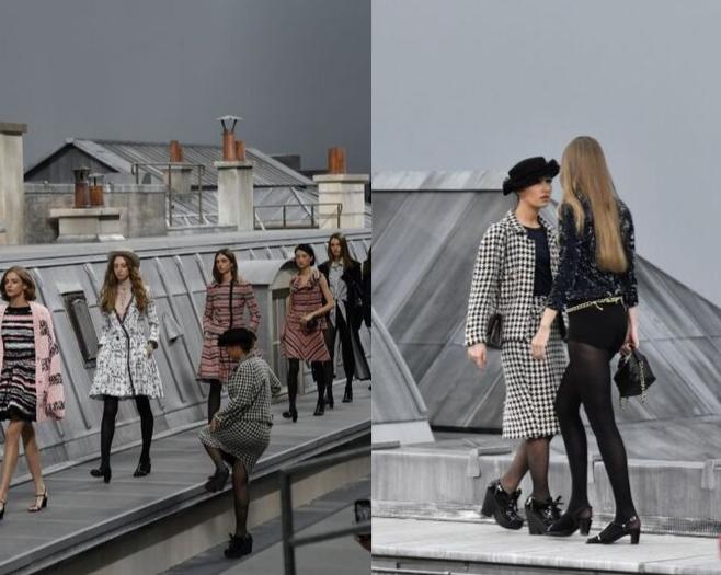 Imagem da blogueira invadindo o desfile da Chanel e Gigi Hadid intervindo