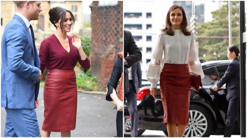 imagem com meghan markle e rainha da Espanha com saia midi vermelha
