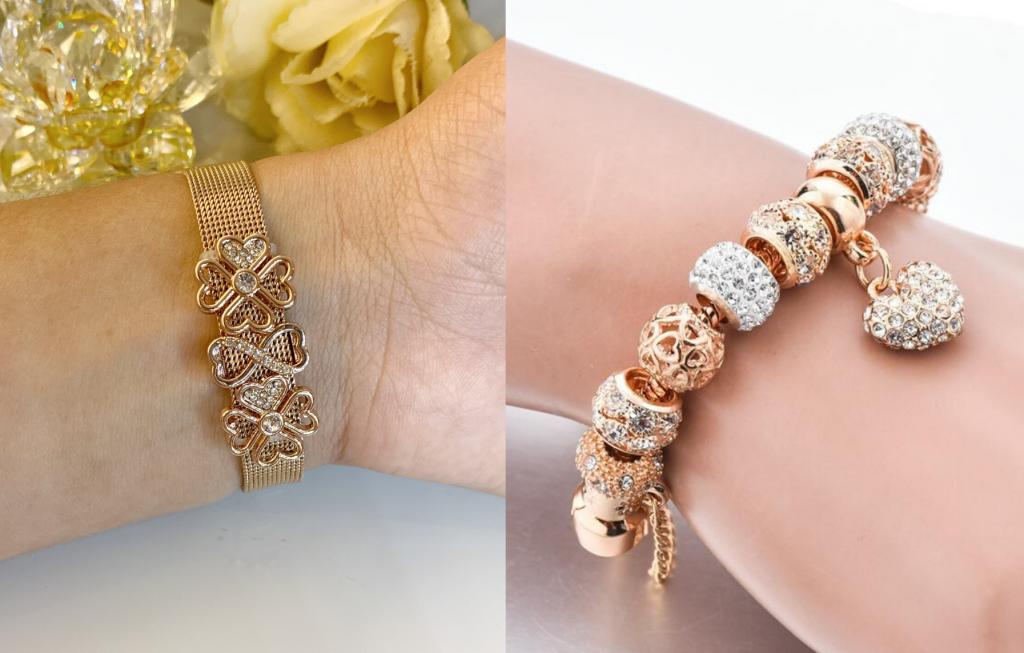 Duas imagens: a primeira com uma pulseira esteira em ouro rosé e berloques by Magnífica Joias e a segunda com uma pulseira Pandora em ouro rosé com berloques