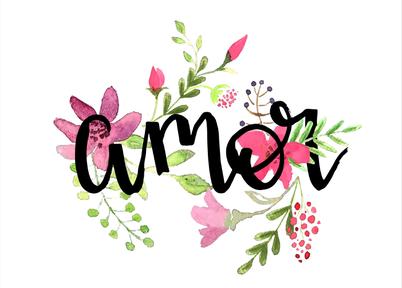 Imagem com a palavra Amor escrita em técnica lettering com flores