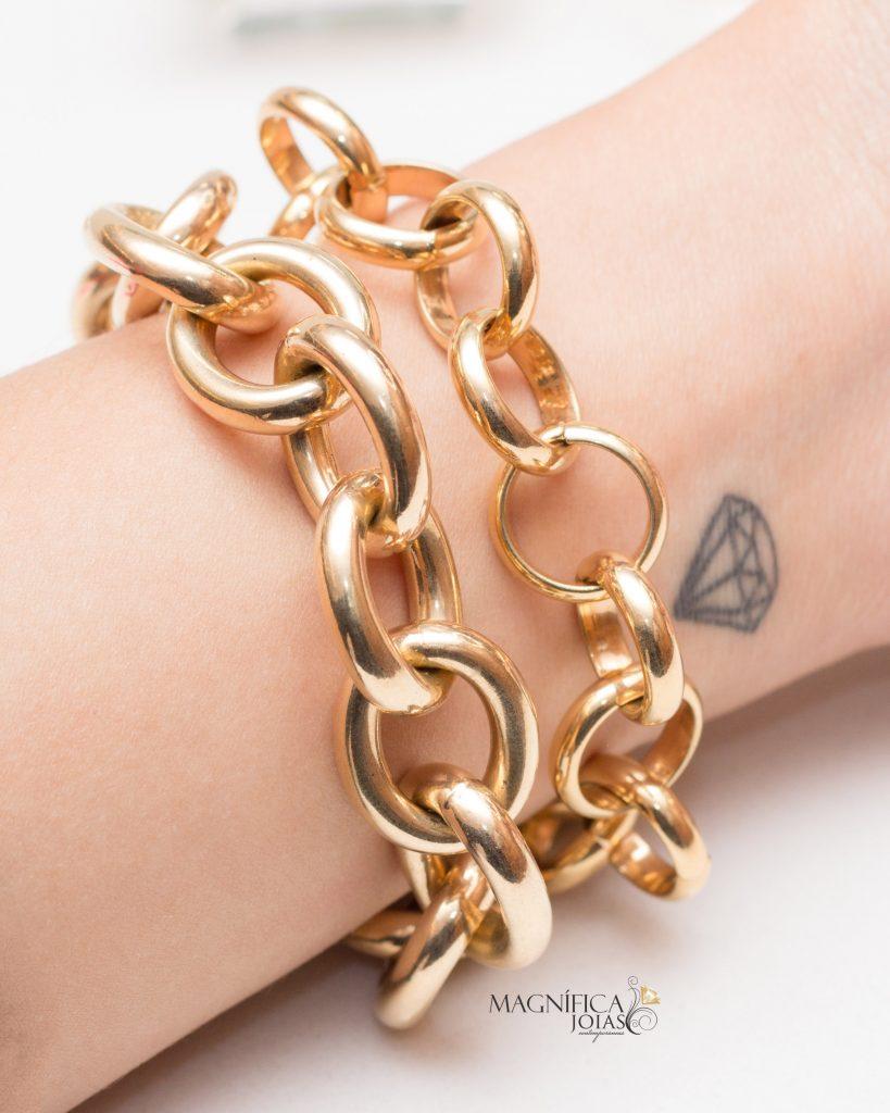 Pulseiras de elos dourados magnifica joias
