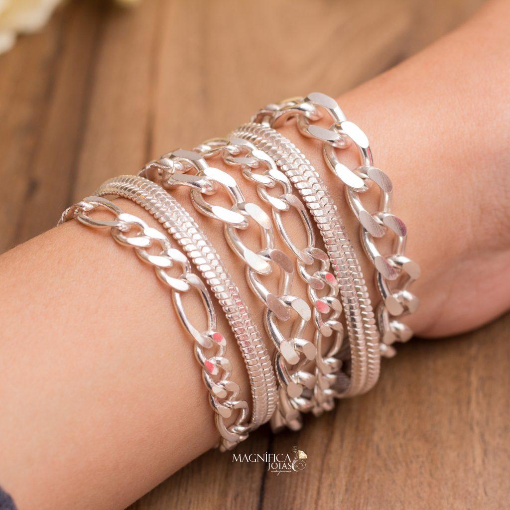 Mix de pulseira prata de correntes