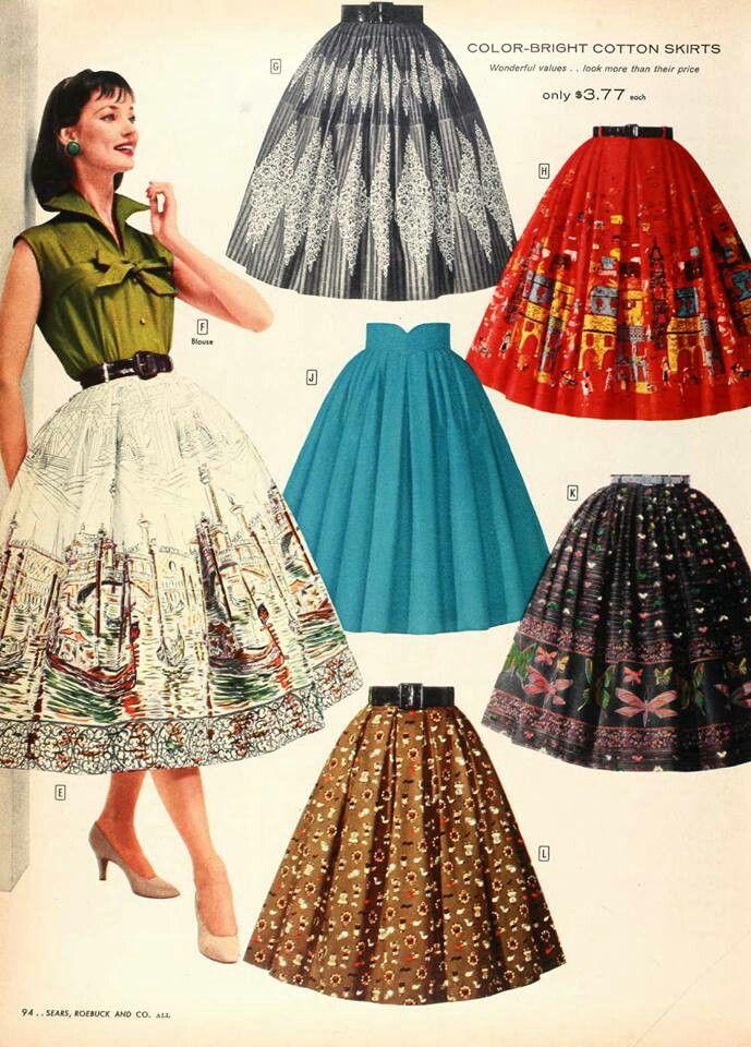 imagem saias rodadas anos 50