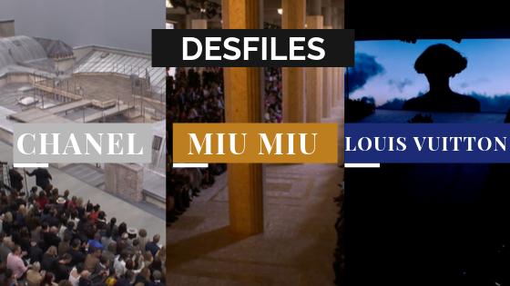 Banner desfile Chanel, Miu Miu e Louis Vuitton